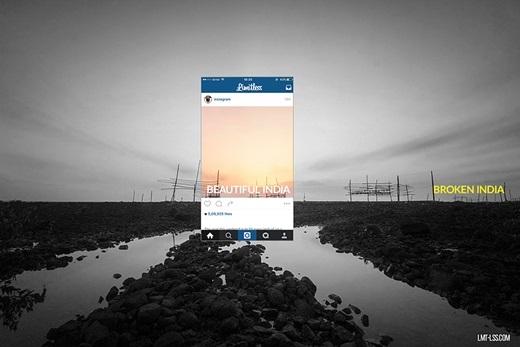"""Bộ ảnh """"Broken India"""" được gợi cảm hứng từ trào lưubóc mẽ """"chiêu trò"""" để có một bức ảnh đẹp trên Instagram. Ý tưởng này hoàn toàn hợp với thông điệp và mục đích của bộ ảnh này.(Nguồn: Limitless)"""