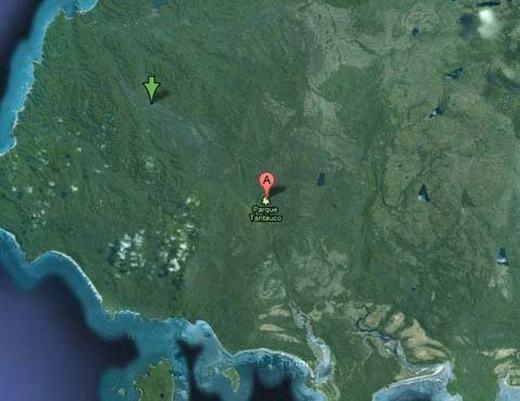 Do đây là nơi quy tụ nhiều động vật có nguy cơ tuyệt chủng sinh sống, công viên quốc gia Tantauco ở Chilecũng không được hiện rõ lên Google Maps ngoại trừ một điểm đánh dấu nhỏ. (Ảnh chụp màn hình)