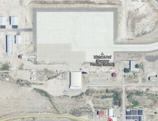 Do là nơi diễn ra các cuộc thử nghiệm hệ thống vũ khí hóa học và sinh học, tòa nhà Michael Aaf, Utah cũng đã bị Google Maps che mờ. Tất nhiên, hành động này là vì lí do an ninh và bí mật quân sự. (Ảnh chụp màn hình)