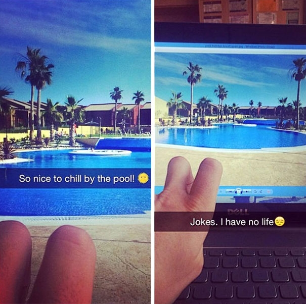 Thư giãn bên bể bơi rất thú! (Thực tế,đời mình không sang chảnh đến thế!)
