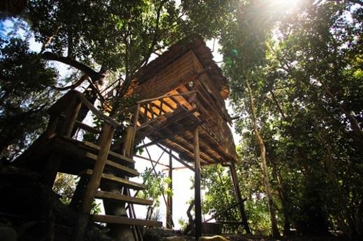 Tiện nghi trong nhà cây Bungalows cũng khá đơn giản với vòi sen, giường, tủ và màn chống muỗi. (Nguồn: Internet)