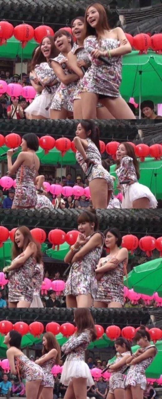 """Trình diễn trong chương trình mừng Tết Đoan Ngọ năm 2013, các cô gái Lay-T bị """"ném đá"""" không thương tiếc do trang phục được nhận xét là phản cảm."""