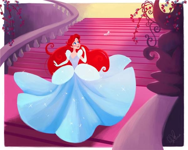 Chắc chắn là cô nàng sẽ gặp phải vấn đề trong việc giữ đôi giày thủy tinh bên mình... đơn giản vì Ariel không quen đi lại bằng hai chân.