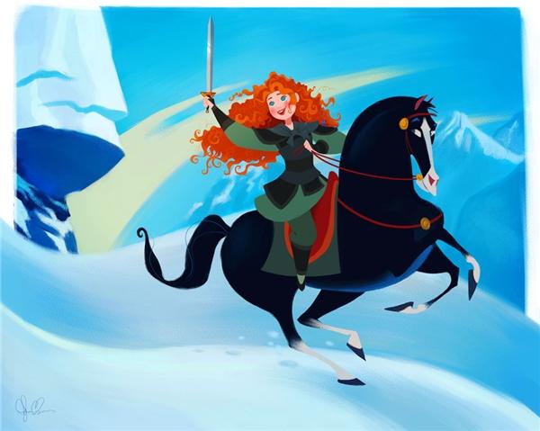 Chắc chắn rằng Merida sẽ vui vẻ đổi chiếc cung và tên của mình để lấy cơ hội thử xuất trận tại một cuộc chiến.