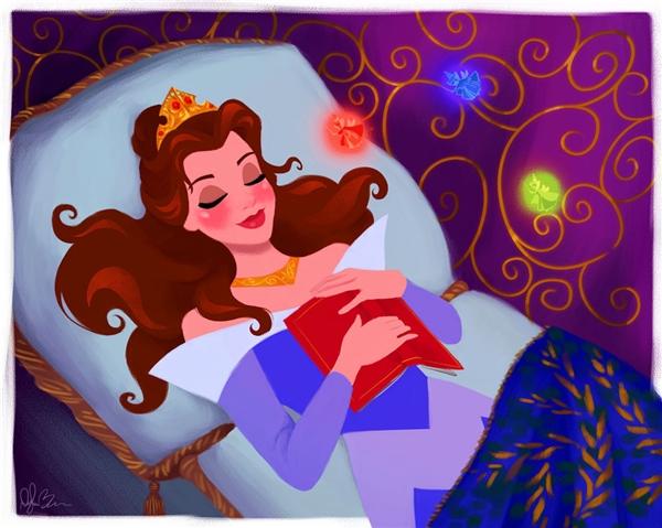 Dù đang ngủ thì cô công chúa vẫn không quên sở thích đọc sách của mình.