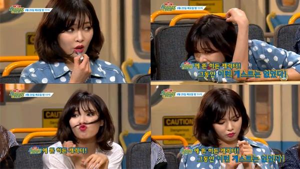 """Tham gia chương trình Beatles Code 3D, HyunAđã vô tư thoa son và nằm dài trên bàn trong khi các thành viên đang trò chuyện cùngMC. Hành động thiếu tinh tế khiến cô nàng nhận về khá nhiều """"gạch đá"""" từ phía cư dân mạng."""