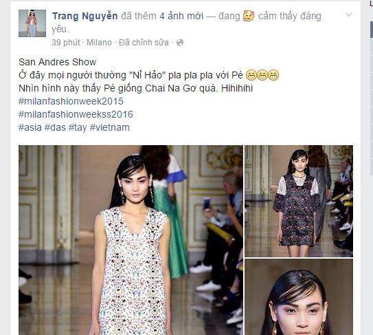 Trên trang cá nhân, chân dài cũng không giấu nổiniềm vui này. Vì nhận được show diễn vào phút chót nên những hình ảnh thử trang phục đều không phải của Thùy Trang.