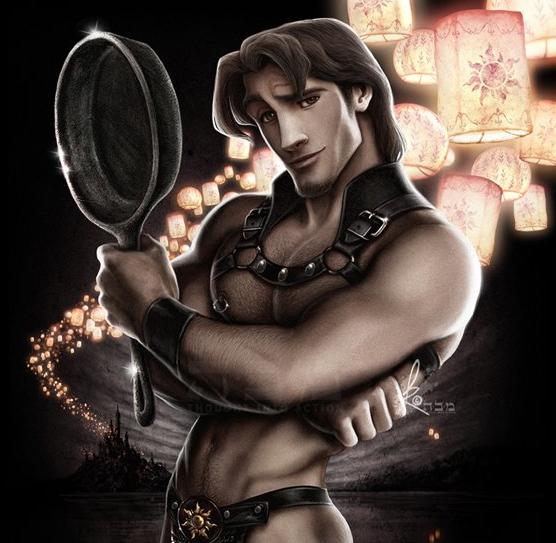 Flynn Rider trong Công chúa tóc mây vẫn quyến rũ ngời ngời kể cả khi chàng tạo dáng với... chiếc chảo.