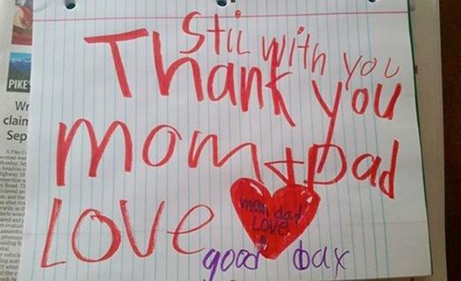Bức di thư của cậu bé để lại cho cha mẹ trước lúc mất.(Nguồn: Internet)