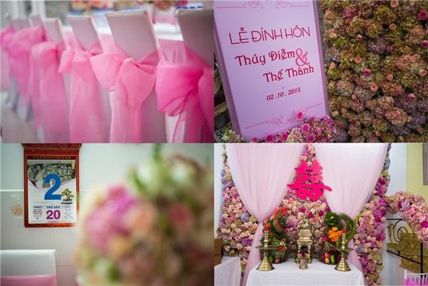"""Tiệc đính hôn của """"cặp đôi vàng"""" được trang trí theo tông hồng - trắng. - Tin sao Viet - Tin tuc sao Viet - Scandal sao Viet - Tin tuc cua Sao - Tin cua Sao"""