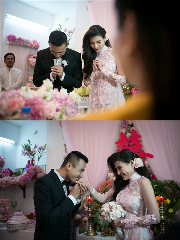 Cả cô dâu và chú rể đều không giấu nổi niềm vui, sự hạnh phúc. - Tin sao Viet - Tin tuc sao Viet - Scandal sao Viet - Tin tuc cua Sao - Tin cua Sao
