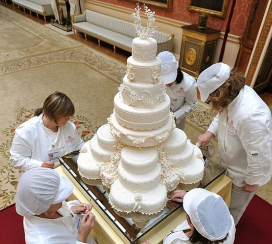 Bánh cưới của Hoàng tử William và Công nương Kate Middleton trị giá 78.000 USD. Kiệt tác nghệ thuật này được làm từ các nguyên liệu có thể ăn được như cây thường xuân, với các biểu tượng của tình yêu và hôn nhân, cũng như 900 bông hoa tượng trưng cho các quốc gia và các tín ngưỡng khác nhau.