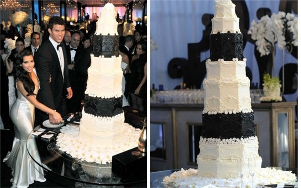 Chiếc bánh cưới của ngôi sao truyền hình thực tế Kim Kardashian và cầu thủ bóng rổ Kris Humphries có giá 20.000 USD. Chiếc bánh cao 8 tầng, màu đen trắng, với chocolate và cẩm thạch nặng 272 kg.