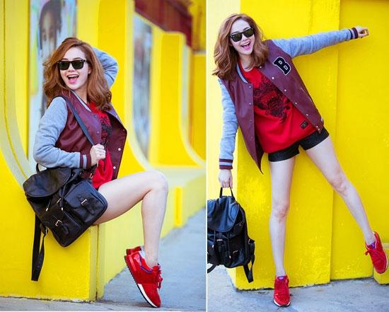 Áo khoác kiểu dáng lửng khỏe khoắn nên phối cùng quần short để có phong cách cực thời trang đẹp rực rỡ.