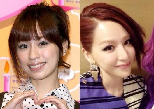 Vương Tâm Lăng ngày trước và hình ảnh bây giờ (bên phải) được cho là đã phẫu thuật thẩm mỹ.