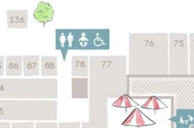 Cửa hàng Burberry (số 76 trên bản đồ), không hề xa nhà vệ sinh công cộng.