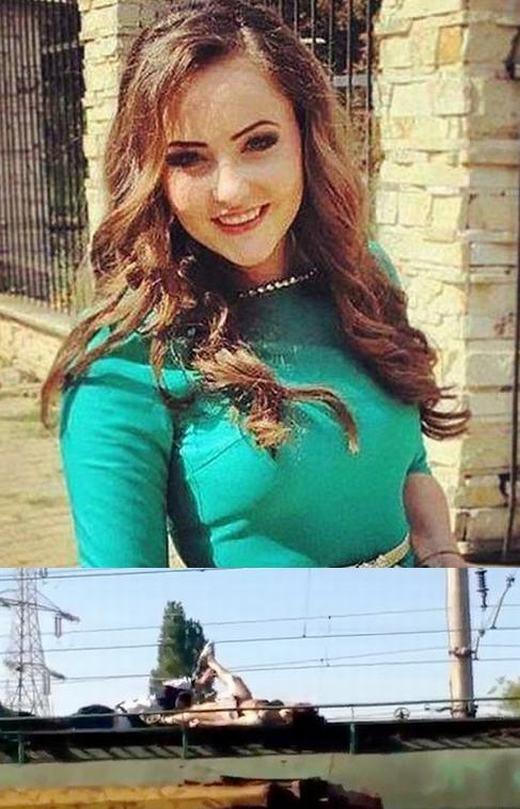 """Cô gái 18 tuổi này có tênAnna Ursusống tại Romania. Anna là một người nghiện chụp ảnh """"tự sướng"""" và thích cảm giác mạnh. Cô đã quyết định leo lên nóc tàu để chụp hình và hậu quả là bị dòng điện cao thế 27.000V bắn vào cơ thể. Khi đó, toàn bộ cơ thể cô như một ngọn đuốc sống. Dù được giúp đỡ nhưng Anna đã qua đời tại bệnh viện vìbỏng nặng. (Ảnh: Internet)"""