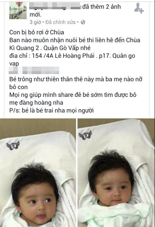 Theo như dòng chia sẻ này, em bé được nhắc đến là bé trai. Tuy nhiên, khi chúng tôi đến chùa Kỳ Quang II để xác minh, em là một bé gái kháu khỉnh, bụ bẫm. (Ảnh chụp màn hình)
