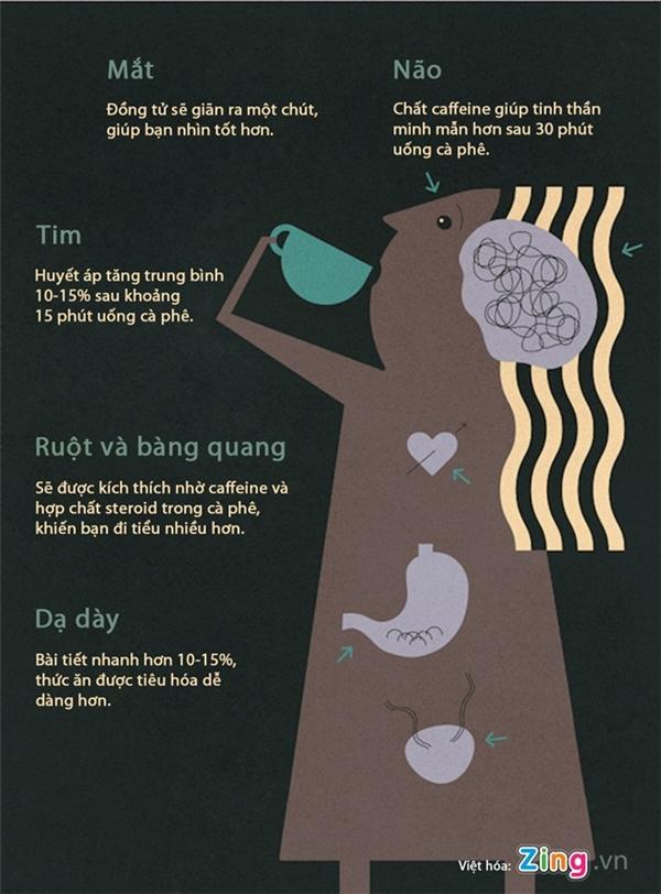 Uống một lượng cà phê vừa phải rất có lợi cho các cơ quan như não bộ, thị lực, tim mạch...