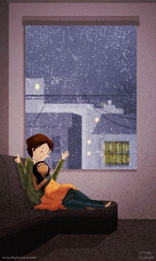 Những buổi trời mưa như thế này, thật tuyệt vời nếu được nằm trong vòng tay của người yêu. (Nguồn: Internet)