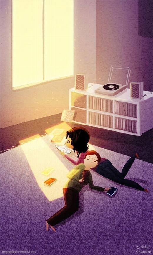 Cùng nằm dài đọc sách cho đến khi một người ngủ thiếp đi. (Nguồn: Internet)