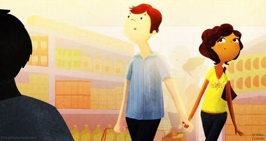 Cùng nắm tay nhau đi siêu thị, chốn đông người vẫn luôn là của riêng hai người yêu nhau. (Nguồn: Internet)
