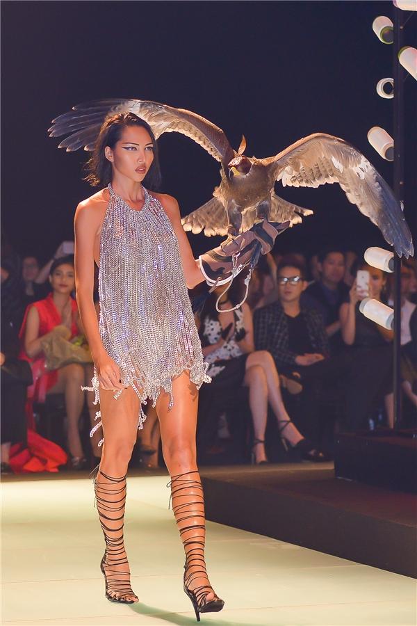 Mở đầu bộ sưu tập của Lê Thanh Hòa là chân dài Minh Triệu. Cô nàng gấy ấn tượng khi catwalk cùng với chú chim đạibàng to lớn.