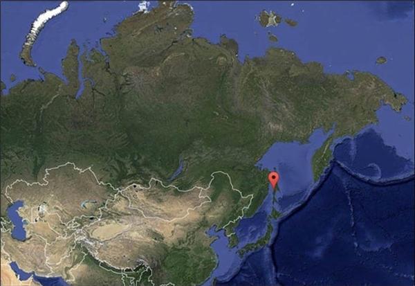 Đây là hiện tượng bất thường ở vùng eo biển Tatar, Uglegorsk, Nga (dấu đỏ trên bản đồ).