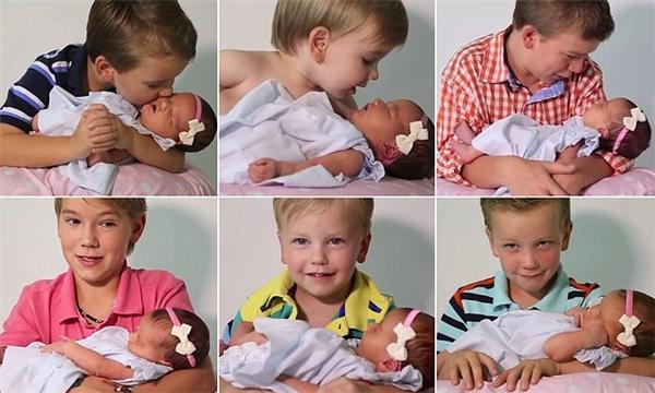 Biểu hiện phấn khích của các chàng trai trong giây phút phát biểu cảm nghĩ về cô em gái đầu tiên của mình.(Ảnh: Internet)