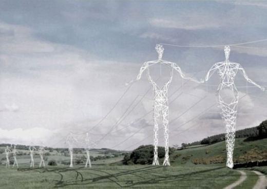 """Những cột điện tựa như """"người khổng lồ"""" đangbước đi trên cánh đồng. (Ảnh: Internet)"""