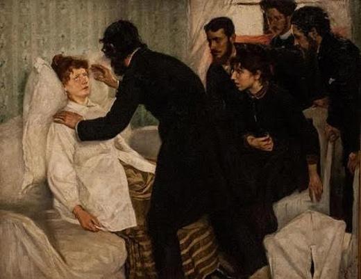Hình mô tả một buổi thực hiện thôi miên tìm lại kiếp trước của Richard Bergh năm 1887. Ảnh: Wikimedia Commons