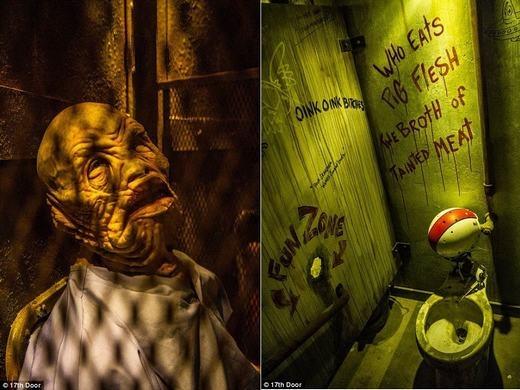 """Những """"quái vật"""" là người thật, được hóa trang thành nhiều hình thù khác nhau. Khi mới vào, họ thường bất động rồi bất ngờ làm người khác sợ. (Ảnh: 17th door)"""