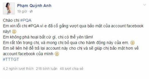 """Phạm Quỳnh Anh gặp ngay phải hacker """"khó đỡ"""". - Tin sao Viet - Tin tuc sao Viet - Scandal sao Viet - Tin tuc cua Sao - Tin cua Sao"""