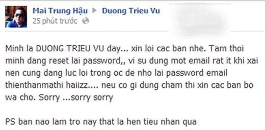 Dương Triệu Vũ đã nhờ tài khoảncủa một người bạn để thông báo tình trạng bị hacker xâm nhập trang cá nhân. - Tin sao Viet - Tin tuc sao Viet - Scandal sao Viet - Tin tuc cua Sao - Tin cua Sao