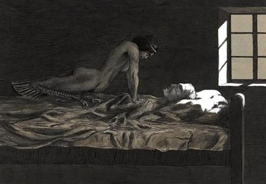 """Trạnh vẽ mô tả hiện tượng bóng đè trong sách """"My dream, my bad dream"""" năm 1915 của Fritz Schwimbeck. Ảnh: Wikipedia"""