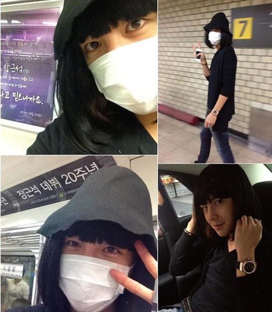 """Jang Geun Suk rất """"có tâm"""" khi cải trang thành một """"bà thím"""" để không bị nhận ra khi sử dụng tàu điện ngầm."""