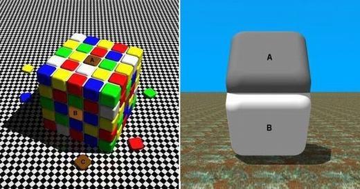 Như hình ảnh này, các khối A và B là có cùng màu sắc, tuy nhiên khi đặt nó vào môi trường khác nhau thì màu sắc cũng thay đổi đến mức bạn-không-thể-nhận-ra. (Ảnh: Internet)