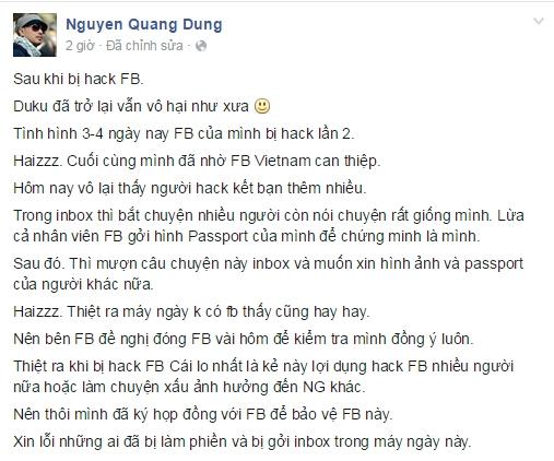 Thông báo của Nguyễn Quang Dũng về việc đã lấy lại được trang cá nhân. - Tin sao Viet - Tin tuc sao Viet - Scandal sao Viet - Tin tuc cua Sao - Tin cua Sao