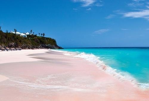 Cát hồng ở đây là tàn tích của những rặng san hô bị nghiền nhỏ ra bởi những con sóng lớn.