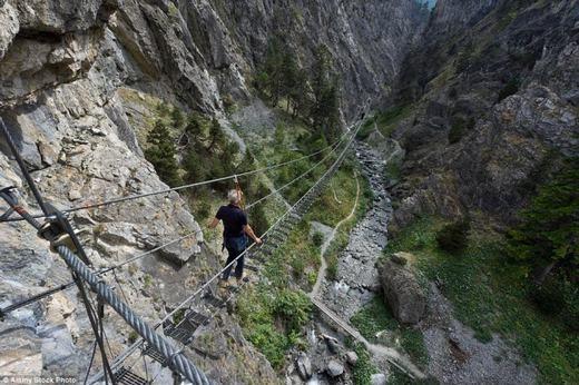 Còn đây là cây cầu Tibetan dọc hẻm núi ở Piedmont, Ý khiến nhiều người vừa đi vừa run. (Ảnh: Internet)