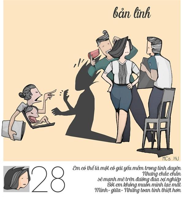 Tuổi 28 - giai đoạn người phụ nữ nhận thức được rằng mình phảimạnh mẽ, chín chắn và yêu công việc nhiều hơn nữa.