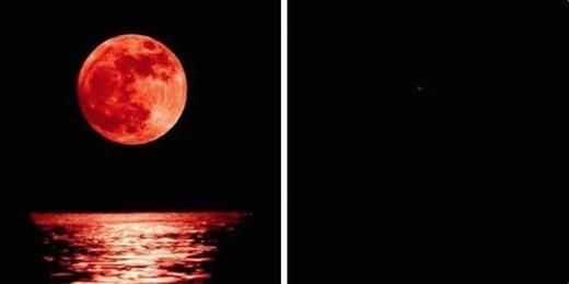 """Khi tôi cũng hào hứng với """"trăng máu"""" và ảnh chụp được trên thực tế(phía phải). (Ảnh: Internet)"""