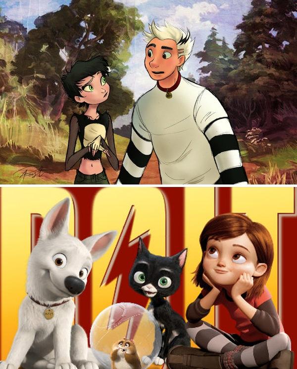 Penny và Bolt trong bộ phim Bolt.