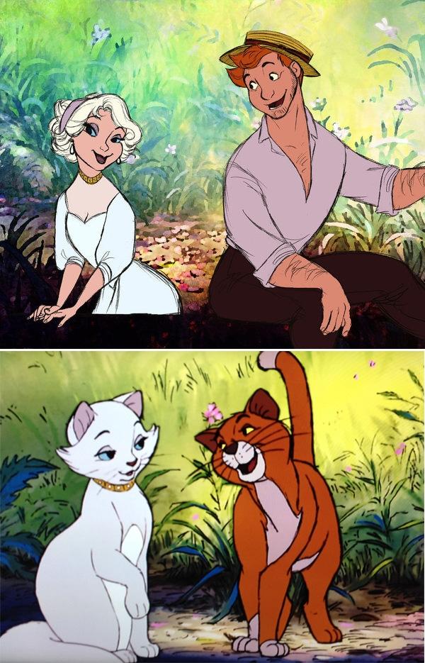 Hai chú mèoDuchess vàThomas O'Malley trong bộ phim Mèo Quý Tộc.