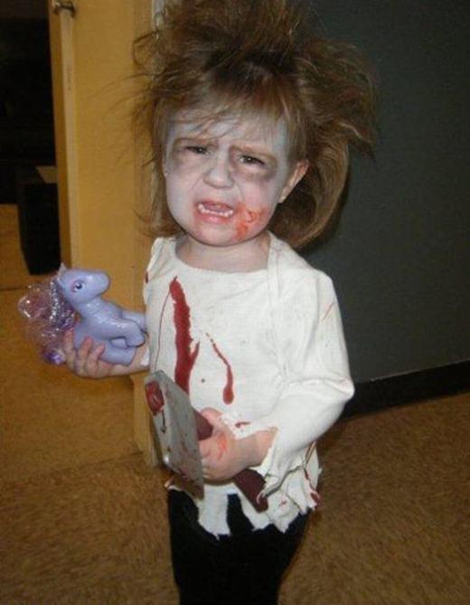 Mùa Halloween đến rồi! Phải mếu như thế này mới giống ác quỷ! (Ảnh: Internet)