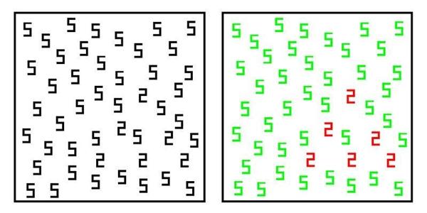 Một người bình thường sẽ khó có thể thấy được hình tam giác được tạo bởi những con số 2 xen lẫn các con số 5 làm nền. Trong khi đó, những người sở hữu cảm giác kèm có thể dễ dàng chỉ ra điều này nhờ vào màu sắc đặc trưng họ nhận thấy quacáccon số!(Ảnh: Internet)