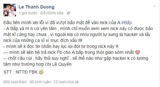 Status hacker đăng tải cho biết mình đang dùng facebook Ngô Kiến Huy. - Tin sao Viet - Tin tuc sao Viet - Scandal sao Viet - Tin tuc cua Sao - Tin cua Sao