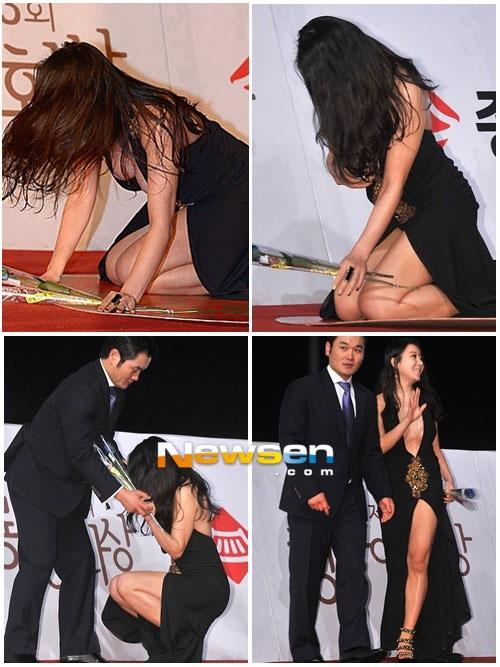 """Ha Na Kyung bị tai tiếng vì nghi án cố tình """"lộ hàng"""" sau pha té ngã trên thảm đỏ lễ trao giải Rồng Xanh lần thứ 33."""