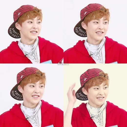 """Mái tóc màu nâu cam khiến anh lớn Xiumin (EXO) thêm phần """"trẻ hóa""""."""
