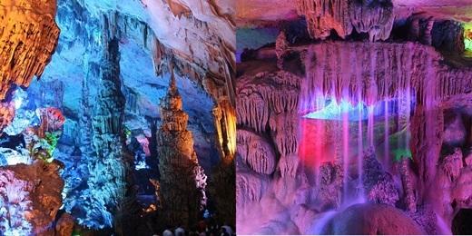 Bên trong hang động được trang bị những nguồn sáng nhiều màu sắc để làm tăng vẻ thần tiên đầy lôi cuốn.(Nguồn: Internet)